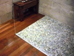 pebble tile floor bathroom room design ideas