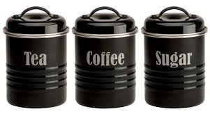 vintage kitchen canister set coffee tea sugar black food