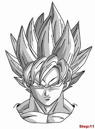 drawing goku super saiyan dragonball tutorial step 11