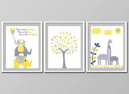 Yellow And Gray Nursery Decor Room Wall Elephant Nursery Decor Yellow Grey Baby