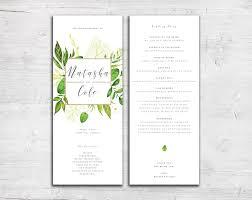 flat wedding programs greenery design tea length flat wedding programs leaves green