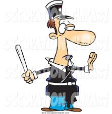 clip art of a cartoon police officer gesturing to stop and