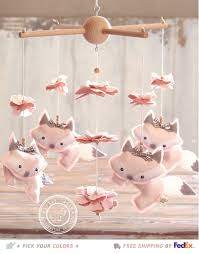 Gray And Pink Nursery Decor by Baby Mobile Baby Nursery Decor Pink Fox Mobile
