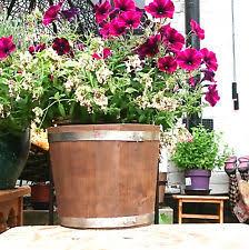 round wooden flower u0026 plant barrel tub planters boxes ebay