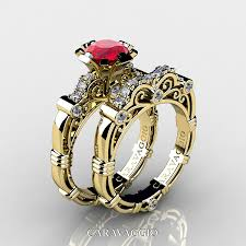 wedding ring masters caravaggio 14k yellow gold 1 0 ct ruby diamond