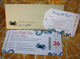 cruise wedding invitations yellow blue swirls crab cruise ticket wedding invitations