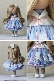Soft Blue Color Handmade Doll Tilda Doll Rag Doll Art Doll Blonde Blue Color Soft