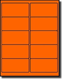 2 X 4 Label Template 10 Per Sheet 1 000 Label Outfitters Fluorescent Neon Orange Laser Only 4 X 2