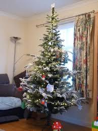 7 foot everlands snowy nordmann fir christmas tree with lights