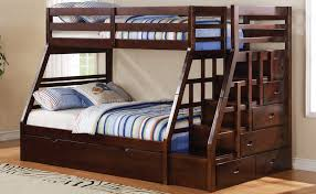 Over Full Bunk Bed Jason Espresso Step Stairway Drawers - Full over full bunk bed with trundle