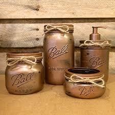 Mason Jar Bathroom Decor Amazon Com Hammered Copper Mason Jar Bathroom Set Rustic 4 Piece