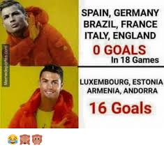 Spain Meme - spain germany brazil france italy england 0 goals in 18 games