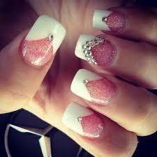 stunning white tip nail designs v glittery sparkle pink