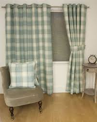 jacquard tartan check duck egg blue lined ring top curtains drapes