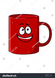 red cartoon coffee mug happy face stock vector 179650817