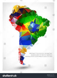 Map Of South America With Countries by Abstract Polygonal Geometric Design Map South Stock Vector