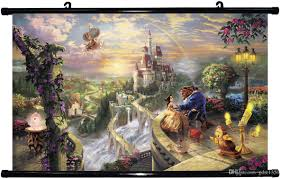 2017 24x13 inch thomas kinkade beauty and the beast poster hd home