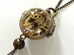 vintage necklace pocket watch images Handmade vintage crystal ball mechanical pocket watch necklace