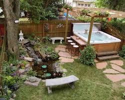tub design ideas landscape asian with lily pad stone paver