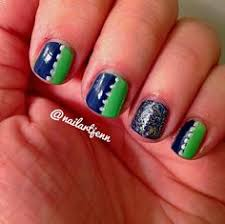 seattle seahawks colors shellac nail polish and glitter by