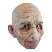 bald man halloween mask chinless old man mask old geezer latex grandpa halloween costume