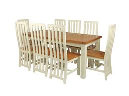 country oak 230cm cream painted extending dining table u0026 8