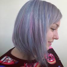 salt and pepper hair with lilac tips silver purple blue lavender hues hair colors ideas