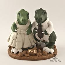 dinosaur wedding cake topper t rex dinosaur wedding cake topper dino and groom