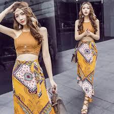 bohemian fashion 2017 summer bohemian fashion women s dress set sleeveless crop top