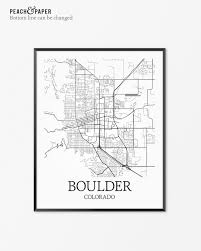 Boulder Colorado Map Boulder Map Art Print Boulder Poster Map Of Boulder Decor