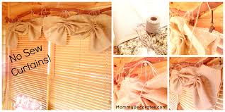 easy diy no sew window treatments curtains and burlap bow chair cover