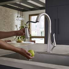 stainless steel pull kitchen faucet spot defense stainless steel venturi 1 handle pull kitchen