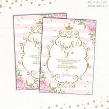 printable thank you cards princess princess thank you card pink gold party princess birthday thank