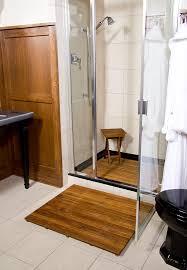 Bamboo Floor Bathroom Bathroom Black Shelf Color Under Iron Towel Handle On Pastel