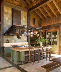 Kitchen Hanging Pot Rack by Wooden High Ceiling Designs In Kitchen With Hanging Pot Rack And