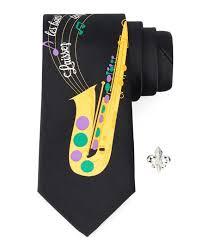 mardi gras tie saxophone print mardi gras tie with fleur de lis lapel pin ties