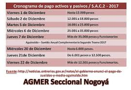 calendario de pago de medio aguinaldo 2016 cronograma de pago mes de noviembre y aguinaldo del 2017 agmer nogoyá