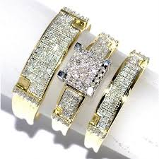 trio wedding sets trio wedding rings set his and rings set real diamond rings