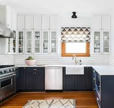 Two Toned Kitchen Cabinets by An Airy Bohemian Home In Seattle Rue S W E E T H O M E