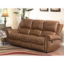abbyson skyler cognac leather reclining sofa free shipping today