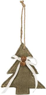 burlap tree ornament with white ribbon jingle bells and