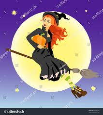 halloween background witch red hair witch pumpkin flying stock vector 109588316