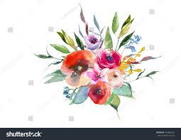 Fall Flowers For Wedding Watercolor Fall Floral Leaf Bouquet Red Stock Illustration