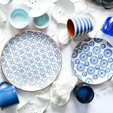 blue and white terra cotta dinner plates set of 4 dotandbodream