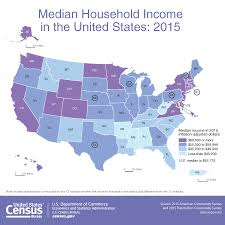 4 Corner States Map by Map Median Household Income In The United States 2015