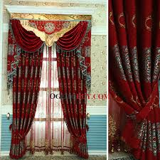 Cheap Black Curtains Festival Red Chenille Luxury Victorian Style Living Room Curtain