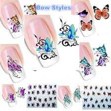 butterfly nail decals stickers bow butterfly designs water
