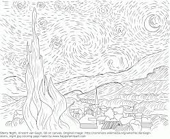 coloring page starry night van gogh high quality coloring pages