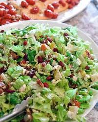 chopped salad with pears cranberries pecans romaine and