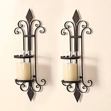 Wall Mounted Candle Sconce Adeco Iron And Glass Scroll And Diamond Design Single Pillar